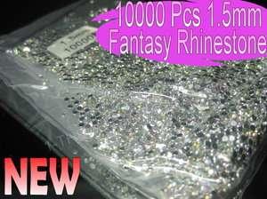 10000pcs 1.5mm Fantasy Colour Round Nail Art Rhinestones Decoration