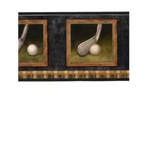 Golf Clubs and Ball Black and Brown Wallpaper Border