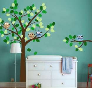 Owl Tree Decal with Round Owls   Baby Nursery Decor Wall Decal