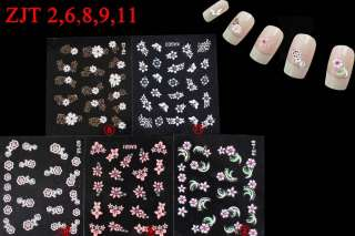 PERFECT 5 SHEETS 3D NAIL ART DECAL STICKERS BUTTERFLY & FLOWER