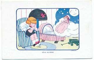 Art VANASEK Child Girl Dream Doll old 1910s postcard
