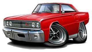1967 Dodge Coronet R/T Muscle Car Cartoon Tshirt FREE