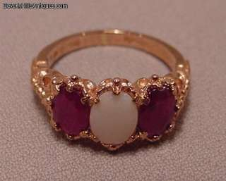 Beautiful Designer English Hallmark 9k Rubies Opal Ring