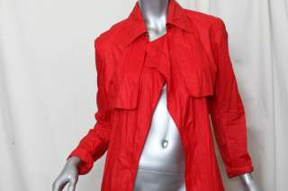 BOTTEGA VENETA Red Cotton+LEATHER Trench Rain Coat Belted Long Jacket
