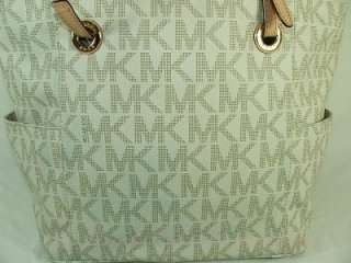 Michael Kors Logo Jet Set MK Monogram E/W Tote Bag Purse Vanilla