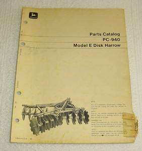 JOHN DEERE E MODEL DISK HARROW PARTS MANUAL