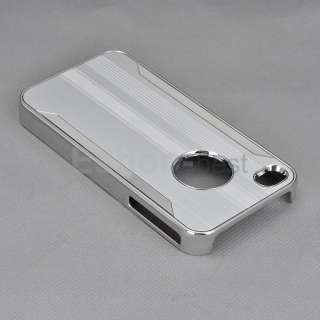 Silver Chrome Luxury Steel Skin Cover Case+Stylus+Screen Film