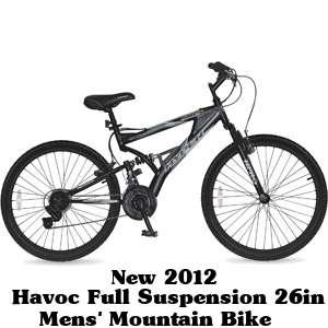 Havoc Full Suspension 26 Mens Mountain Bike color is Aluminum FRAME
