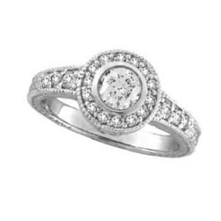 80ct Bezel & Prong Set Diamond Antique Style Ring Milgrain 14K White