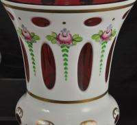 Handsome Bohemian White Cut To Clear Floral Cased Glass Vases