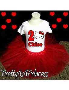 BIRTHDAY HELLO KITTY TUTU OUTFIT RED DRESS AGES 1 5