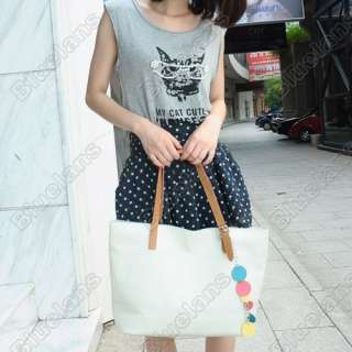 Ladies Fashion Monotone Pendant Vintage Colors Tote Shoulder Bag