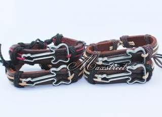 Alloy guitar Charm Leather Hemp Braided Bracelet Wristband Cool