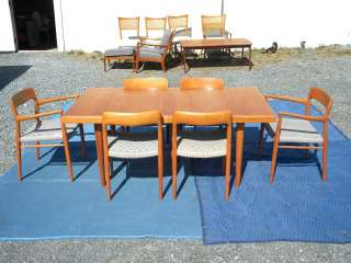 MODERN TEAK DINING ROOM SET TABLE & SIX CHAIRS by NEILS MOLLER