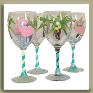 Hand Painted Wine Glass with Palm Trees and Flamingos