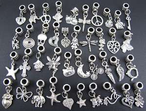 Wholesale Mix 40pcs Tibetan Silver Charms Beads Fit European Bracelet