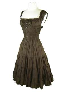 Vintage Style CHOCOLATE BROWN PINUP Off the Shoulder PEASANT Sun Dress