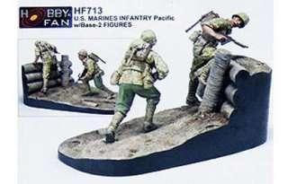 Hobby Fan 1/35 U.S. MARINES INFANTRY Pacific w/Base 2 FIGURES #HF 713