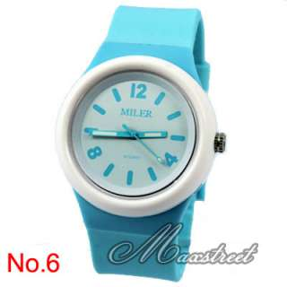 Fashion Girls Womens Silicone Quartz Wrist Watch Multicolor