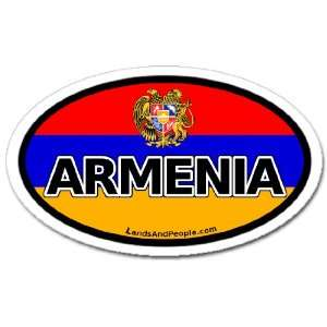 Armenia and Armenian Flag Car Bumper Sticker Decal Oval