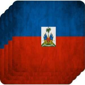 Rikki KnightTM Haiti Flag   Square Beer Coasters   Drink