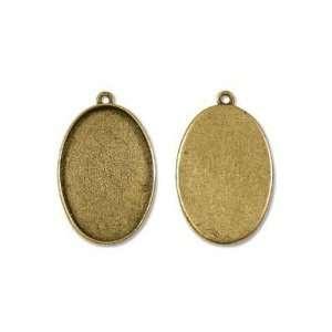 Nunn Design Antiqued Gold Plated Collage Bezel Grande Oval Pendant 1.5