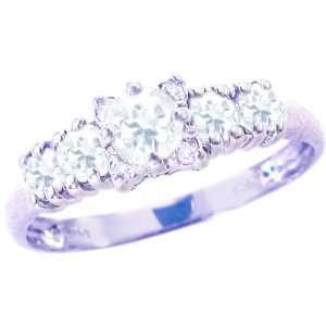 14K White Gold Five Stone Gem and Diamond Ring White Topaz
