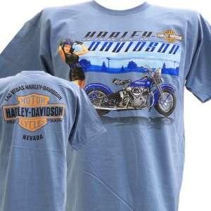 Davidson Las Vegas Dealer Tee T Shirt Pinup Girl BLUE XL #BRAVA1