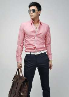 CT59 New Mens Fashion Casual Slim Fit Stylish Dress Shirts 3ColorGREY