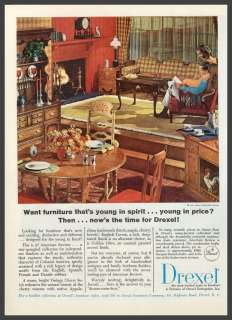 1965 DREXEL FURNITURE AD~American Revue Dining Room