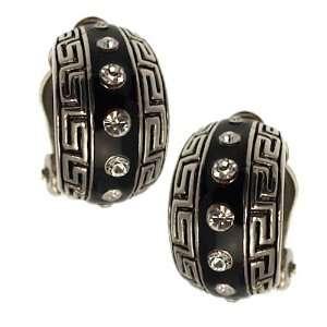 Brooke Silver Black Crystal Clip On earrings Jewelry