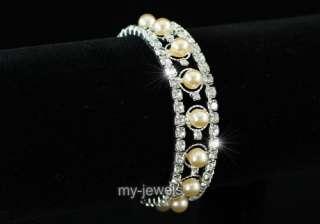 Bridal Wedding Cream Faux Pearl Crystal Bracelet B044