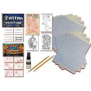 3 Tattoo Books (Lettering, Banners and Classic) Stencil