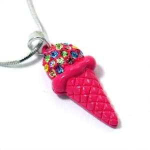 Pink Ice Cream Cone Necklace Pendant Jewelry Womens Ladies Gift 115