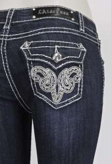 LA IDOL BOOTCUT JEANS W/ BEAUTIFUL STUDDED DESIGN SZ 0 15