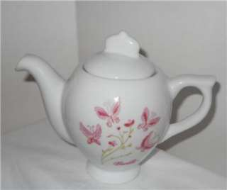 BARBIE CHINA TEA SET PINK WHITE BUTTERFLIES 13 PIECE