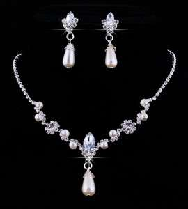 Imitate Pearl Czech Rhinestone Acrylic Crystal Bead Necklace Earring