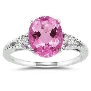 Oval Cut Pink Topaz & Diamond Ring in White Gold SZUL