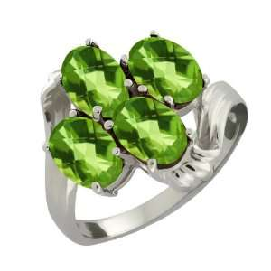 4.00 Ct Checkerboard Green Peridot Sterling Silver Ring