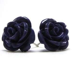 15mm coral carved rose flower earring pair purple