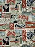 Print Fabric 100% Cotton 1/2 yard 44 w. MAKUA patch greens blue olive