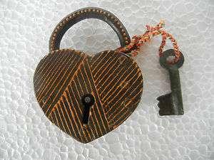 Old Iron Heart Shape, Hand Painted Iron Pad Lock
