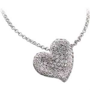 14Kt White Gold Insignificant Diamond Heart Pendant