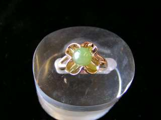 Sterling Silver Flower Bead Jade Ring Gold Plated