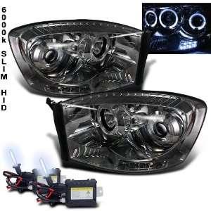 6000k Slim Xenon HID Kit+ 06 08 Dodge Ram Halo LED Smoke