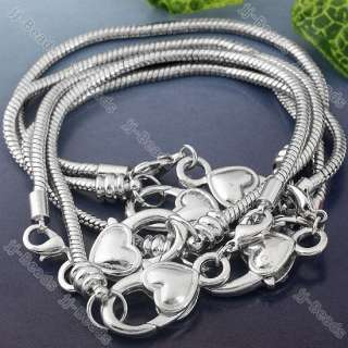5x White Gold Plated Lobster Clasp Heart Charm Bracelet