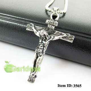 Mens Silver Stainless Steel Jesus Cross Chain Pendant Necklace Cool