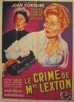 IVY great large JOAN FONTAINE movie poster FRENCH