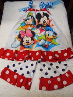 BOUTIQUE DISNEY MINNIE MICKEY PILLOWCASE DRESS OUTFIT