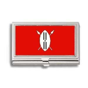 Maasai Kenya Tanzania Flag Business Card Holder Metal Case